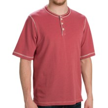 Weatherproof Dobby Henley Shirt - Short Sleeve (For Men) in Red - Closeouts