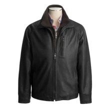 Weatherproof Egyptian Lambskin Coat - Double Collar (For Men) in Black - Closeouts