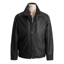 Weatherproof Egyptian Lambskin Coat - Double Collar (For Men) in Black