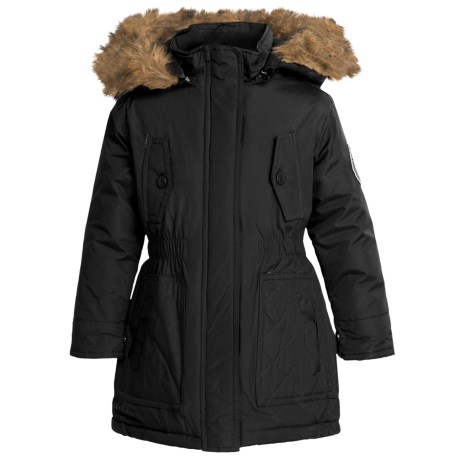 Weatherproof Expedition Parka - Insulated, Faux-Fur Hood (For Little and Big Girls) in Black