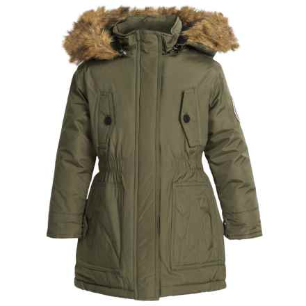 Weatherproof Expedition Parka - Insulated, Faux-Fur Hood (For Little and Big Girls) in Olive - Closeouts