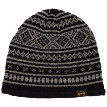 Weatherproof Fair Isle Beanie - Fleece Lined (For Men and Women) in Black/Charcoal - Closeouts