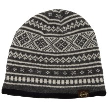 Weatherproof Fair Isle Beanie - Fleece Lined (For Men and Women) in Grey/Ivory - Closeouts