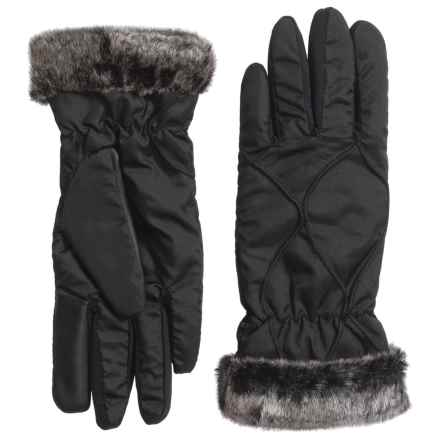 Weatherproof Faux-Fur-Lined Winter Gloves - Touchscreen Compatible (For Women) in Black/Silver - Closeouts