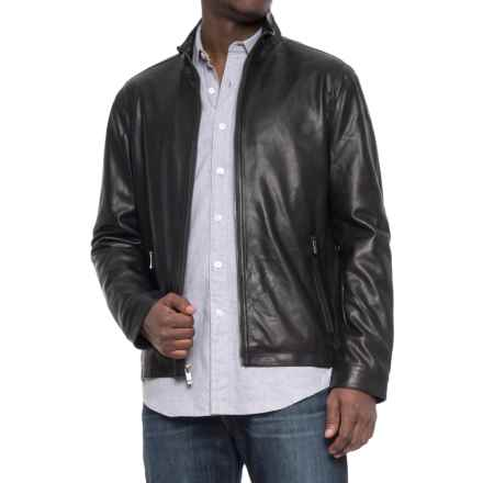 Weatherproof Faux-Leather Moto Jacket (For Men) in Black - Overstock