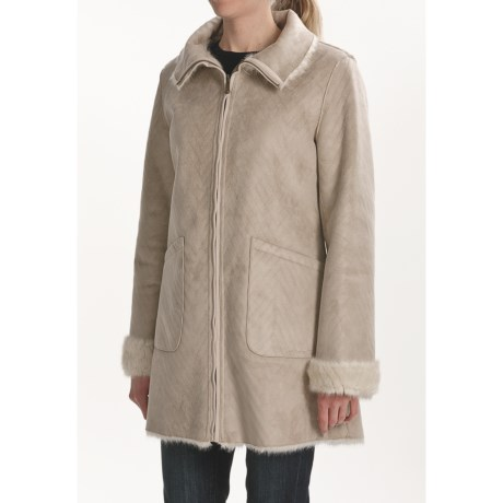 Weatherproof Faux-Shearling to Faux-Fur Coat - Reversible (For Women) in Champagne