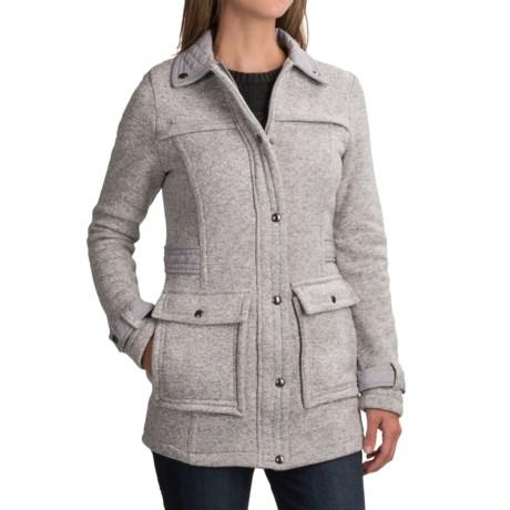 Weatherproof Full-Length Sweater Jacket (For Women) in Light Grey