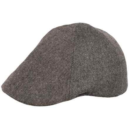 Weatherproof Herringbone Driving Cap - Wool Blend, 6-Panel (For Men) in Charcoal/Donegal - Overstock