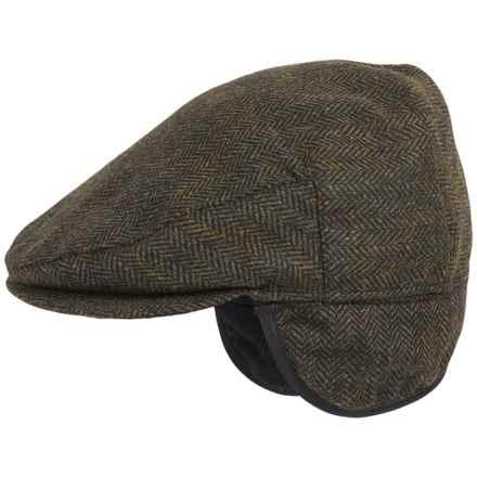 Weatherproof Herringbone Driving Cap - Wool Blend, Ear Flaps (For Men) in Olive - Overstock