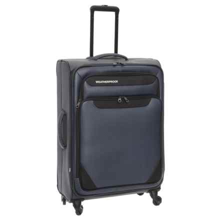 "Weatherproof Holloway Expandable Spinner Carry-On Suitcase - 21"" in Navy Herringbone - Closeouts"