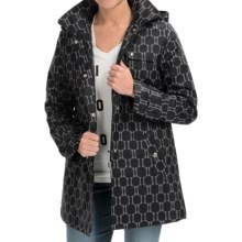 Weatherproof Hooded A-Line Jacket (For Women) in Black Geo Print - Closeouts