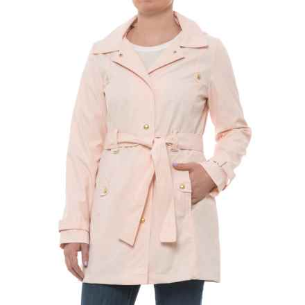 Weatherproof Hooded Belted Trench Coat (For Women) in Blush - Closeouts