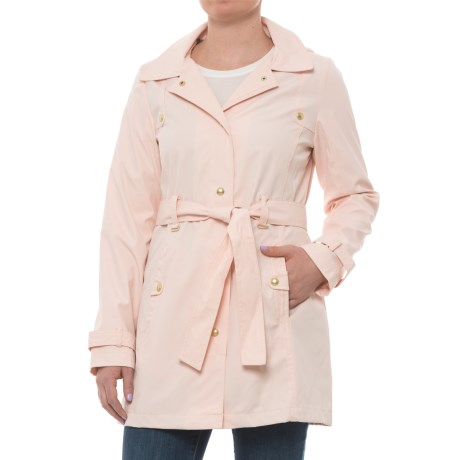 Weatherproof Hooded Belted Trench Coat (For Women) in Blush