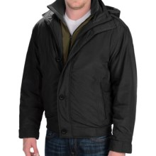 Weatherproof Hooded Bomber Jacket - Insulated (For Men) in Black - Closeouts