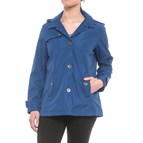 Weatherproof Hooded Topper Jacket - Button Front (For Women) in Indigo