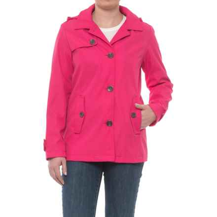 Weatherproof Hooded Topper Jacket - Button Front (For Women) in Pink Bloom - Closeouts