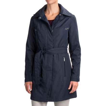 Weatherproof Hooded Trench Coat (For Women) in Navy - Closeouts