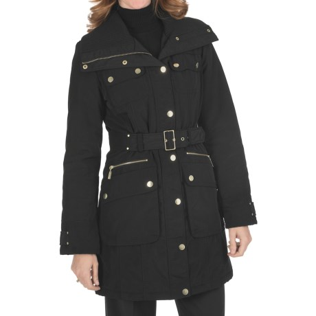 Weatherproof Insulated Car Coat - Knit Collar (For Women) in Black