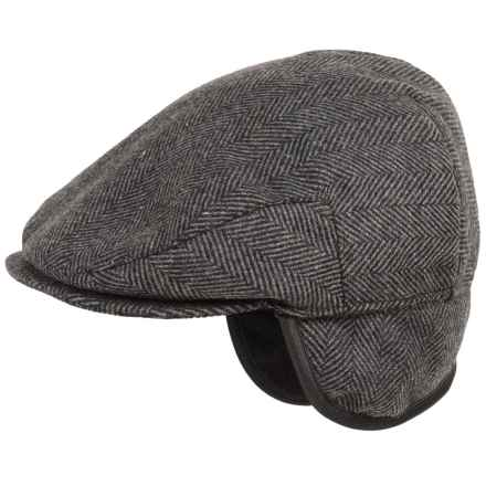 Weatherproof Large Herringbone Driving Cap - Ear Flaps (For Men) in Black/Grey - Overstock