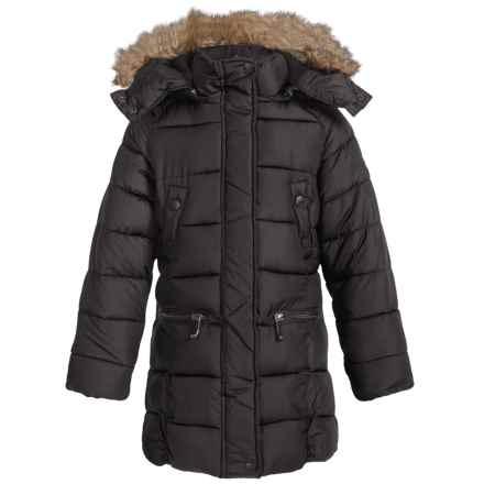 Weatherproof Long Bubble Winter Coat - Insulated (For Little and Big Girls) in Black - Closeouts