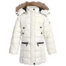Weatherproof Long Bubble Winter Coat - Insulated (For Little and Big Girls) in Cream - Closeouts