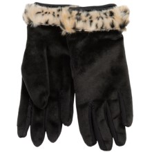 Weatherproof Microboa Faux-Fur-Trim Gloves - Touchscreen Compatible (For Women) in Black W/Leopard Trim - Closeouts