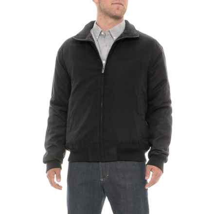 Weatherproof Microfiber Bomber Jacket - Insulated (For Men) in Black - Closeouts