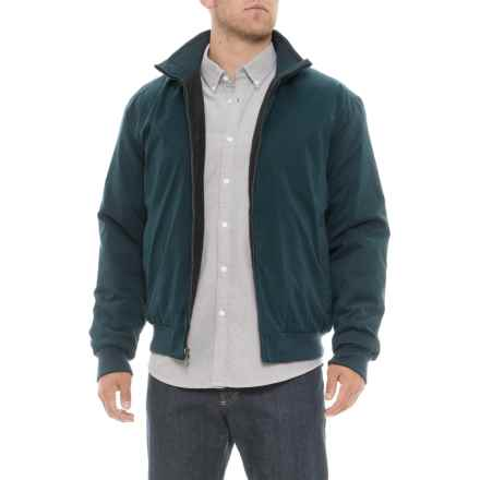 Weatherproof Microfiber Bomber Jacket - Insulated (For Men) in Blue Mountain - Closeouts