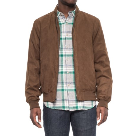 Weatherproof Microsuede Baseball Jacket (For Men) in Dark Almond