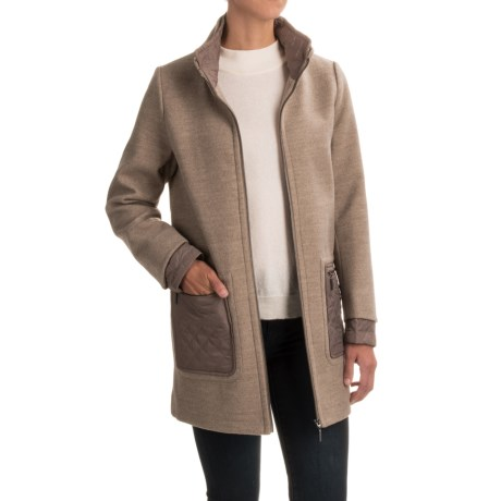 Weatherproof Mixed Media Topper Coat (For Women) in Camel