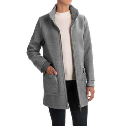 Weatherproof Mixed Media Topper Coat (For Women) in Light Grey - Closeouts