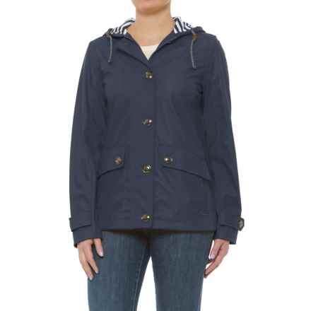 Weatherproof Nautical Hooded Windbreaker (For Women) in Ink - Closeouts