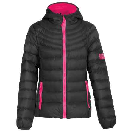Weatherproof Packable Down Jacket (For Big Girls) in Black/Cherry Pink - Closeouts
