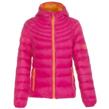 Weatherproof Packable Down Jacket (For Big Girls) in Cherry Pink/Orange - Closeouts
