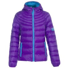 Weatherproof Packable Down Jacket (For Big Girls) in Plum/Electric Blue - Closeouts