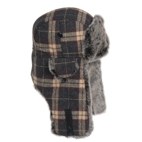 Weatherproof Plaid Aviator Hat - Insulated, Ear Flaps (For Men and Women) in Brown Plaid