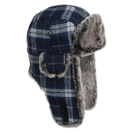 Weatherproof Plaid Aviator Hat - Insulated, Ear Flaps (For Men and Women) in Navy Plaid - Closeouts