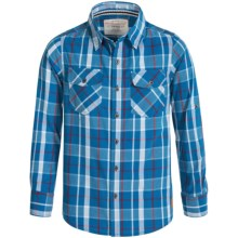 Weatherproof Plaid Shirt - Button Front, Long Sleeve (For Big Boys) in Classic Blue Plaid - Closeouts