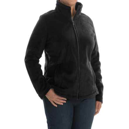 Weatherproof Plush Pile Fleece Jacket (For Plus Size Women) in Black - Closeouts