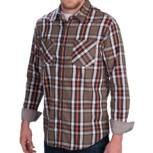 Weatherproof Poplin Plaid Shirt - Button Front, Long Sleeve (For Men) in Teak Wood - Closeouts