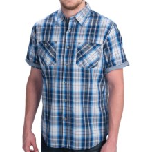 Weatherproof Poplin Plaid Shirt - Short Sleeve (For Men) in Navy - Closeouts