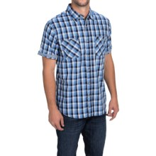Weatherproof Poplin Plaid Shirt - Short Sleeve (For Men) in Sapphire - Closeouts