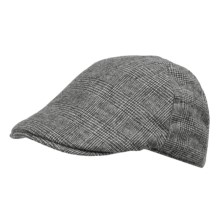 Weatherproof Quilt-Lined Driving Cap (For Men) in Black/Ivory Plaid - Closeouts