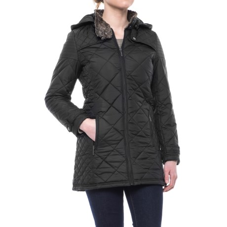 Weatherproof Quilted Faux-Fur City Walker Coat - Insulated (For Women) in Black