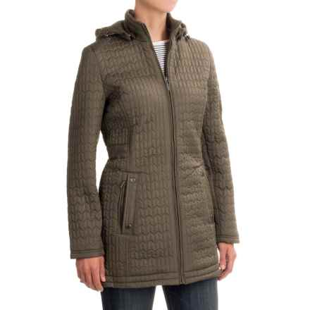 Weatherproof Quilted Hooded Walker Coat (For Women) in Khaki - Closeouts