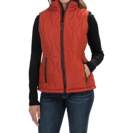 Weatherproof Quilted Swirl Vest - Faux-Fur Lined (For Women) in Orange Spice