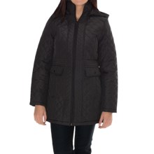 Weatherproof Quilted Walker Coat - 3/4 Length (For Women) in Black - Closeouts