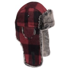 Weatherproof Retro Plaid Aviator Hat - Wool Blend, Insulated, Ear Flaps (For Men and Women) in Red Buffalo Plaid - Closeouts