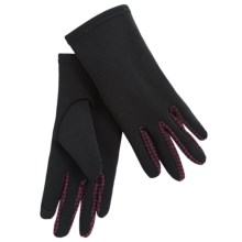 Weatherproof Single-Layer Stretch Gloves - Touchscreen Compatible (For Women) in Black W/Bordeaux Houndstooth - Closeouts