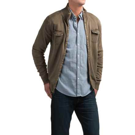 Weatherproof Stonewashed Zip Cardigan Sweater (For Men) in Coffee - Closeouts